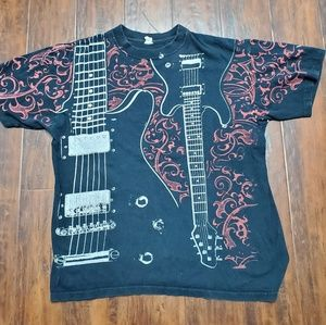 Sick 00s Guitar all over print t shirt